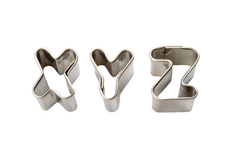 xyz: Letters x y z baking tins isolated on white