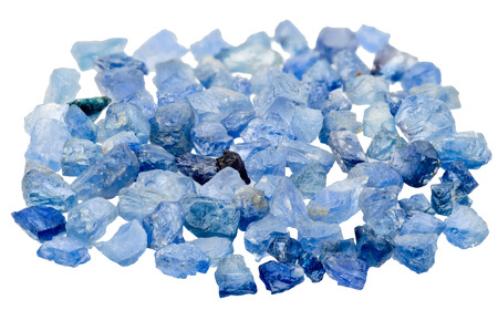gemological: A pile of blue sapphire crystal on white