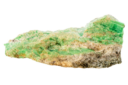 gemological: Rough uncut green emerald crystal with host rock