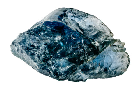 unpolished: One raw and uncut blue sapphire crystal isolated on white