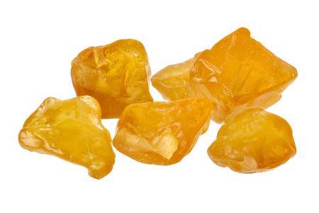 uncut: Cinque cristalli di zaffiro giallo tagliato e ruvida isolato su bianco Archivio Fotografico