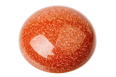 cabochon: One copper red glittering Goldstone cabochon isolated on white