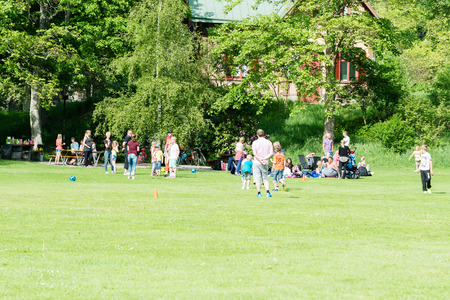 public park: RONNEBY, SWEDEN - MAY 24, 2014: Group of people relaxing and having fun in public park. Green grass and ball play. Editorial