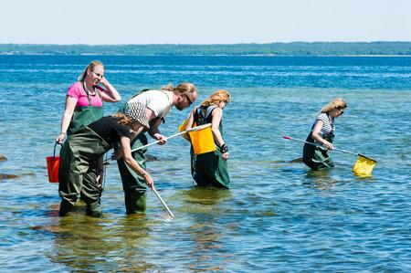 botas altas: Kalmar, Suecia - 26 de mayo 2014: Grupo de agua de examinar con las redes de anillos sobre ecología excursión.