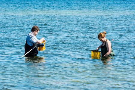 botas altas: Kalmar, Suecia - 26 de mayo 2014: Pares en el agua con el instrumento y el anillo de la red sobre la ecología excursión.