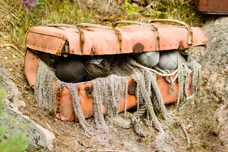 booty pirate: Open treasure trunk or chest with debris and junk from the sea. Stock Photo