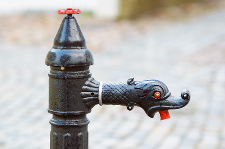sea snake: Black cast iron water faucet with dragon head and red eye and mouth. Stock Photo
