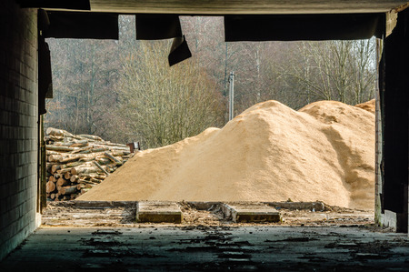 inside out: A pile of saw dust and some logs outside an abandoned building that frames the view as seen from the inside out. Rubber seal hangs down from ceiling. Stock Photo