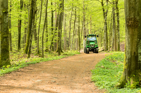 john deere: RONNEBY, SWEDEN - May 11, 2015: Small John Deere compact utility tractor 2520 used in the forest on narrow path. Here seen with a trailer in surrounding beech forest.