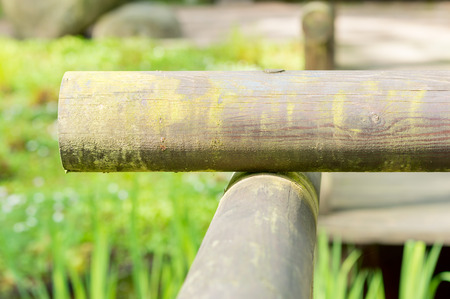 resouce: Round wooden end parts of railings in the corner. Green moss is starting to grow as the wood ages.
