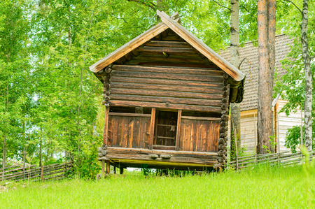 hindrance: House built on stilts in green grass field. House leans a little to the right for some reason. Retractable ramp in front below the door. Stock Photo