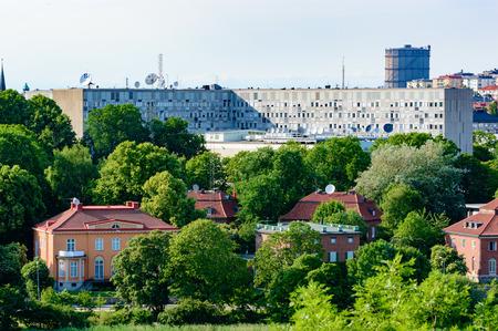 quartier g�n�ral: Stockholm, Sweden - July 05, 2015: Radiohuset, the Swedish Radio headquarter with surroundings. Sveriges Radio (SR) logo seen on satellite dish. �ditoriale