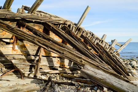 schooner: The wreck of the schooner Swiks that grounded on an offshore sandbank outside northern Oland, Sweden, one hard winter night 1926. The wreckage was blown ashore in a storm 1954. This is what is left. Stock Photo