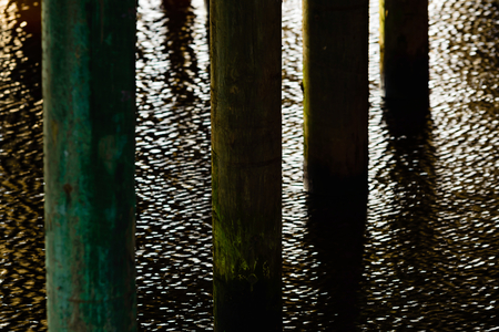 impregnated: Wooden pillars or poles support a bridge standing in water. Fine reflections from the water surface. Copper based impregnated poles like these last a long time in wetlands and water areas. Stock Photo