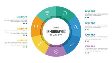 7 points circular infographic element template with icons and colorful flat style, can use for presentation slide
