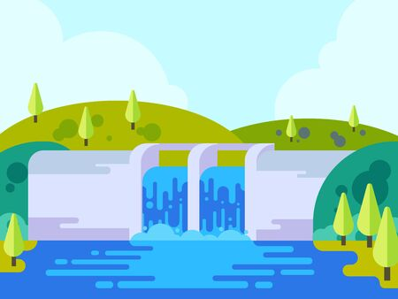 Front view of hydro power plant building with beautiful landscape, dam with opened water gate, water flowing from dam, vector illustration, flat style.  イラスト・ベクター素材