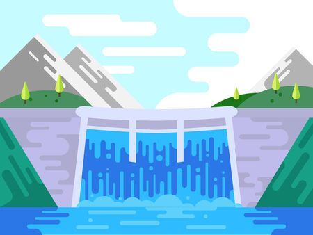 hydro power plant building infrastructure, front view of dam with opened water gate, water flowing/streaming from dam with beautiful view of landscape, vector illustration, flat style.