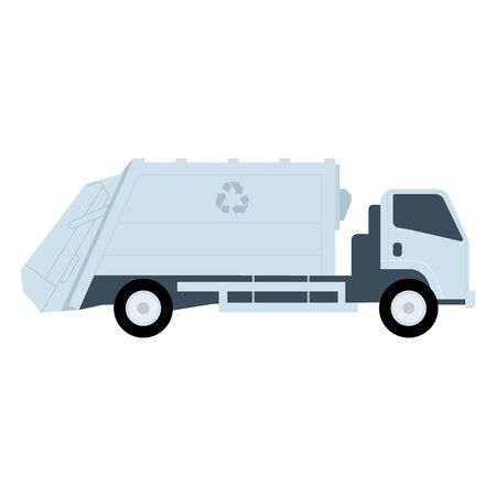 white garbage truck with recycle icon vector illustration flat style.
