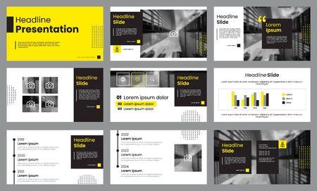 Modèle de présentation jaune et blanc. Vecteur de modèle d'infographie. À utiliser pour la présentation de diapositives, la brochure, le dépliant, la bannière, le marketing, la publicité, le pitch deck, le rapport d'entreprise ou annuel. Vecteurs