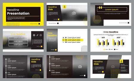 Modello di presentazione giallo e bianco. Infografica modello vettoriale. Può essere utilizzato per layout di diapositive di presentazione, volantini, volantini, brochure, report, marketing, pubblicità, banner, ecc.