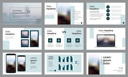 Modern teal presentation template. Infographic template vector. Use for business data visualization, slide presentation, banner, corporate, annual report, brochure, etc. Vetores