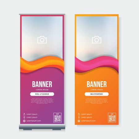 Set of Modern business roll up banner template vector with fluid gradient abstract background Ilustrace