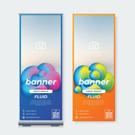 Set of Cool roll up banner design template vector with fluid gradient abstract background