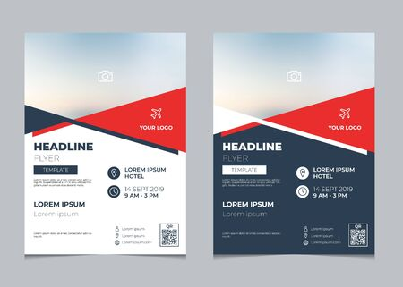 Set of business flyer design template, multipurpose brochure layout template, poster design, annual report cover design with simple geometric