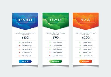 Flüssiger Farbverlauf der Preisliste mit 3 Tabellen, Vergleichstabellenvorlage, Produkttabellen-Designvorlage, Preis-UI für Web-Preise, Infografik-Tariftabellen-Designvektor.