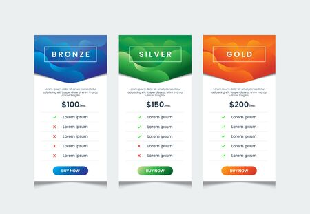 Fluid gradient style of price list with 3 tables, comparative table template, product table design template, price ui for web pricing, infographic tariff table design vector.