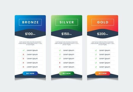 Simple gradient price list ui with 3 tables for web pricing, product table design template, comparative table, infographic tariff vector Stock Illustratie