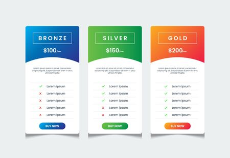 Price list template with 3 tables, price ui for web pricing, chart comparative table, product table design template, infographic tariff table design vector.