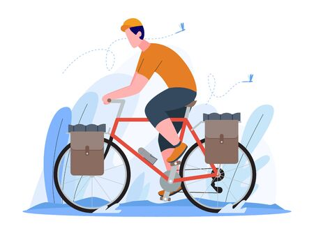 man riding a touring bike, man touring with bicycle, explore the world with bicycle, illustration concept, vector flat style Stock Illustratie