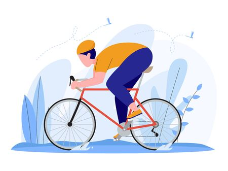 man riding a racing bike, road bike, or bicycle. illustration concept, vector flat style Stock Illustratie