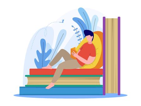 man reading a book, sitting on stack of books, illustration concept, vector flat style