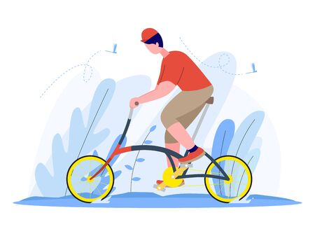 man riding a folding bike, illustration concept, vector flat style. Vectores