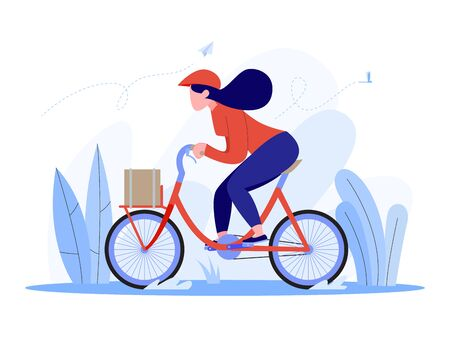woman riding a vintage bicycle, delivery woman on bicycle concept, vector illustration flat style. Stock Illustratie
