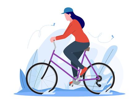 woman riding a vintage bicycle, training with bike, illustration concept, vector flat style