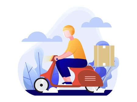 delivery man riding a red scooter, online delivery service concept, vector flat illustration 向量圖像
