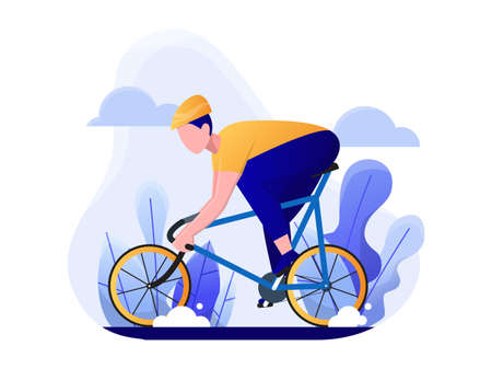 man riding a bicycle, road bike, or race bicycle concept, vector flat illustration.