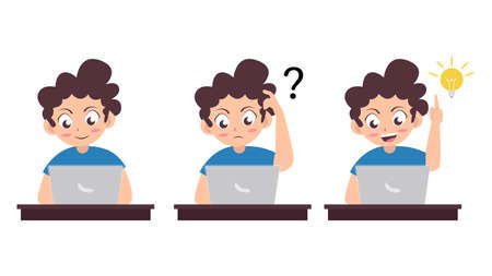boy use laptop with different poses, confused, and get idea when using laptop, cartoon vector illustration Ilustração