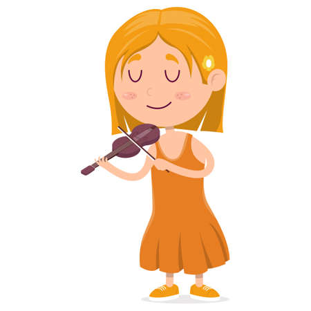 happy little girl playing violin and her eyes are closed, cartoon vector illustration on white background