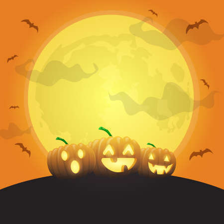 halloween pumpkins under big moon, can be used for background halloween holiday, vector illustration