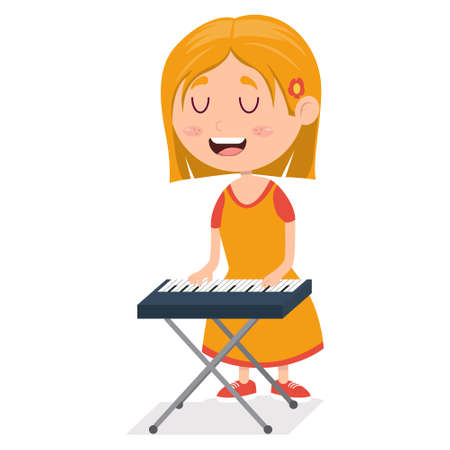little girl playing piano, young pianist on performance, cartoon vector illustration on white background