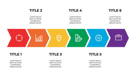 infographic template element with six points of title and icons, can be used for workflow, timeline, process, information, presentation slide, etc. Vektorgrafik