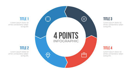 4 points circle infographic element vector with arrows, can be used for workflow, steps, options, list, processes, presentation slide, report, etc. Векторная Иллюстрация
