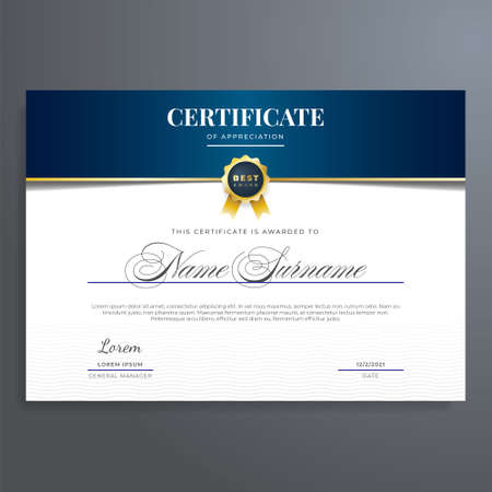 Elegant certificate design template with gold seal, blue, and green color. Multipurpose and elegant design