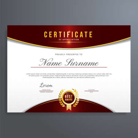 Multipurpose certificate template with seal and red color, simple and elegant design Vector Illustration
