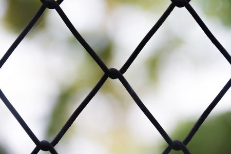 Steel wire mesh fence close-up on a blurred background