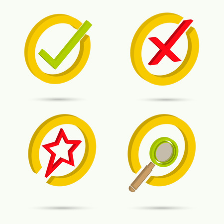 confirmation: Isometric icons. Collection of four icons. Confirmation. Cancellation. Star. Search. Vector illustration